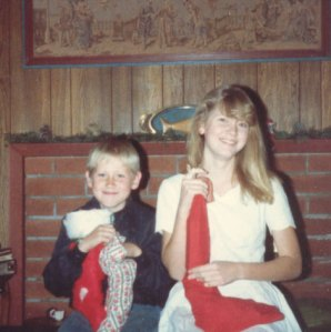 Our children, Sarah and Jason, Christmas, 1987
