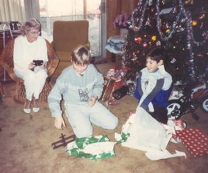 My mom with Jason and his cousin Bobby in 1990, Jason's last Christmas