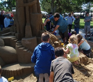 Children Love Helping to Build this Sand Castle at Festival of the Arts, Paso Robles
